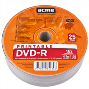 ACME DVD-R PRINTABLE 4.7GB 16X 25PCS PACK