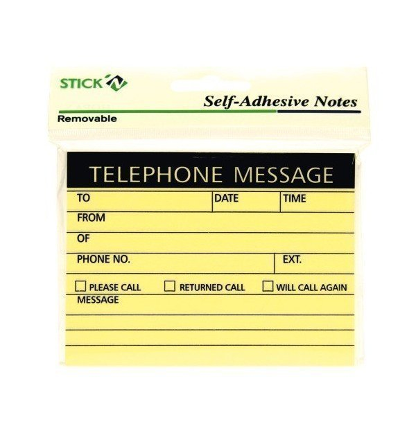 STICK  N TELEPHONE MESSAGE 100 SHEETS PAD