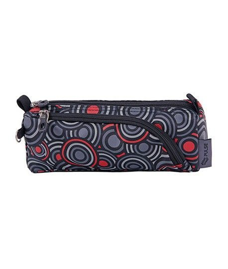 PENCIL CASE DOBBY RED CIRCLES