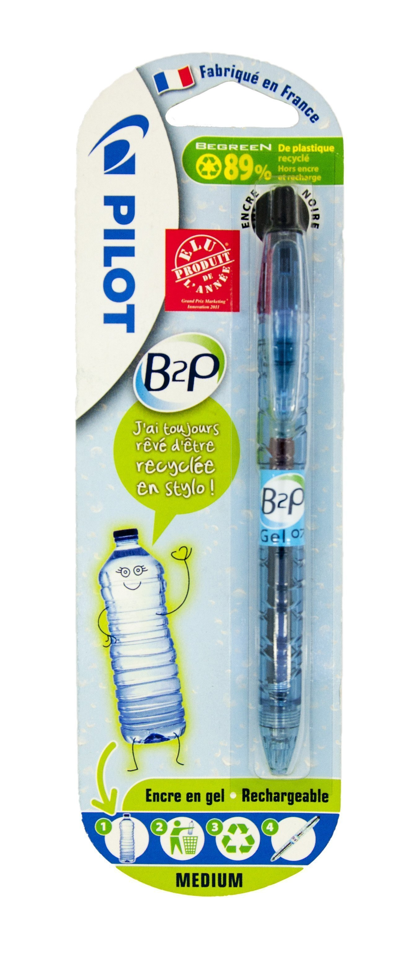 PILOT B2P ROLLER BALL PEN 0.7MM BLACK BLISTER
