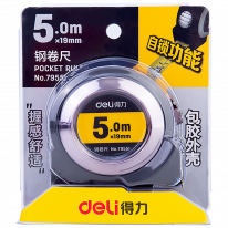 DELI STEEL MEASURE TAPE - 5 METERS - SILVER