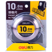 DELI STEEL MEASURE TAPE - 10 METERS - SILVER