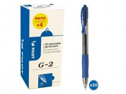 PILOT G2 - GEL INK ROLLER - VALUE PACK BOX X 20 - MEDIUM - BLUE