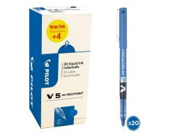 PILOT V5 - LIQUID INK ROLLERBALL - VALUE PACK BOX X 20 - BLUE