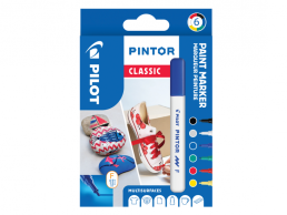 PILOT PINTOR - WALLET REGULAR MIX -X 6- FINE - BLACK BLUE GREEN YELLOW WHITE RED