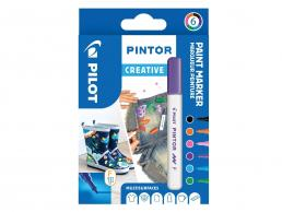 PILOT PINTOR - WALLET CREATIVE MIX -X 6- FINE - BLACK VIOLET LIGHT BLUE PINK LIGHT GREEN ORANGE