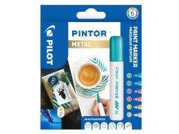 PILOT PINTOR - WALLET METAL MIX -X 6- MEDIUM - GOLD BLUE PINK GREEN VIOLET SILVER