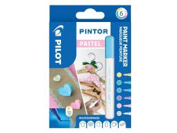 PILOT PINTOR - WALLET PASTEL MIX -X 6- FINE - BLUE YELLOW VIOLET GREEN PINK WHITE