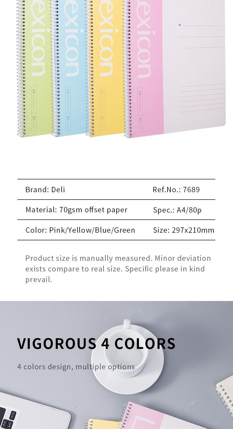 DELI SPIRAL SOFT COVER RULED NOTEBOOK A4/80P- LINE - ASSORTED COLOURS