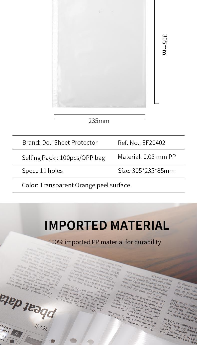 DELI 11-HOLE SHEET PROTECTOR A4 0.03MM 100PK