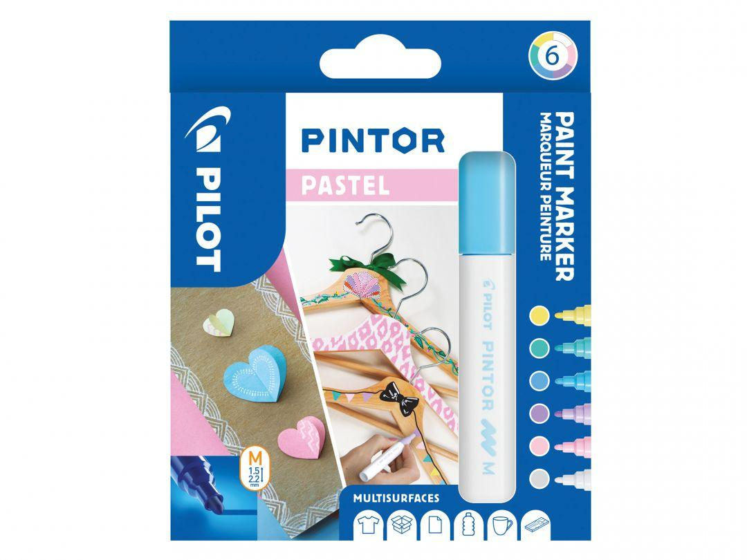 PILOT PINTOR - WALLET PASTEL MIX -X 6- MEDIUM - BLUE YELLOW VIOLET GREEN PINK WHITE