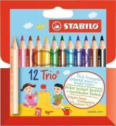 STABILO TRIO THICK SHORT PENCIL WALLET OF 12 PCS