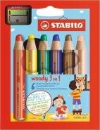 STABILO WOODY 3 IN 1 BOX OF 6 PCS WITH SHARPENER