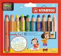 STABILO WOODY 3 IN 1 BOX OF 10 PCS WITH SHARPENER