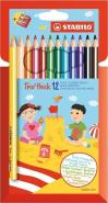 STABILO TRIO THICK PENCIL BOX OF 12 PCS WITH SHARPENER
