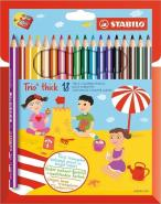 STABILO TRIO THICK PENCIL BOX OF 18 PCS WITH SHARPENER