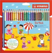 STABILO TRIO THICK PENCIL 24 PCS WALLET