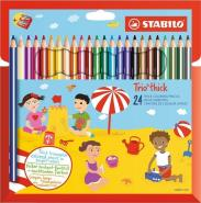 STABILO TRIO THICK PENCIL BOX OF 24 PCS WITH SHARPENER