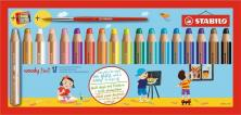 STABILO WOODY 3 IN 1 BOX OF 18 PCS WITH SHARPENER AND BRUSH