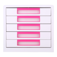 DELI ABS FOLDABLE FILE CABINET MAGENTA, 5 DRAWERS