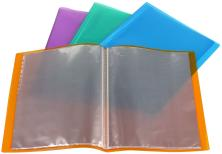 DATAZONE A4 SOFT CLEAR BOOK 20 POCKETS ASSORTED COLOURS.