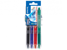PILOT SET 2 GO - 4 FRIXION BALL CLICKER 0.7 B/L/R/G GEL INK ROLLER - MEDIUM TIP (0.7MM)